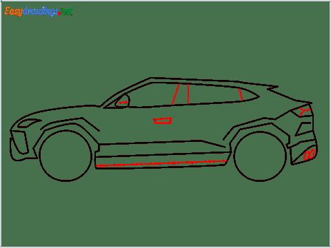 How to draw Lamborghini Urus step (8)