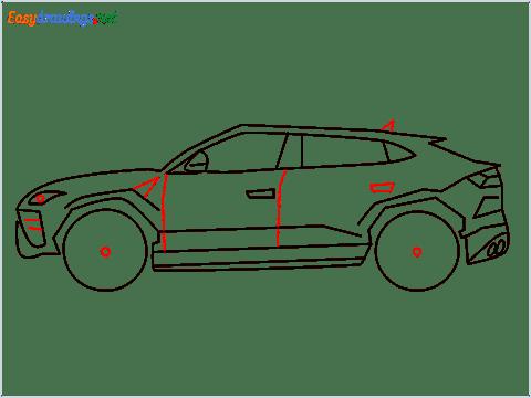 How to draw Lamborghini Urus step (9)