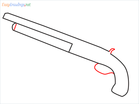 How to draw M1873 Gun step (3)
