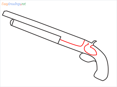 How to draw M1873 Gun step (4)