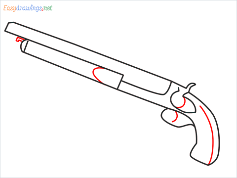 How to draw M1873 Gun step (5)