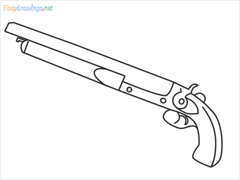 How to draw M1873 Gun step by step for beginners