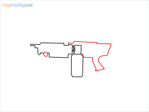 How to draw M249 Gun step (4)