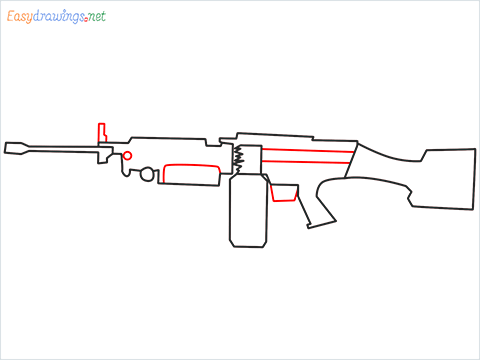How to draw M249 Gun step (6)