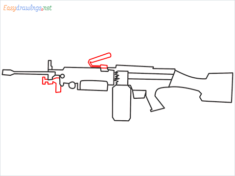 How to draw M249 Gun step (7)
