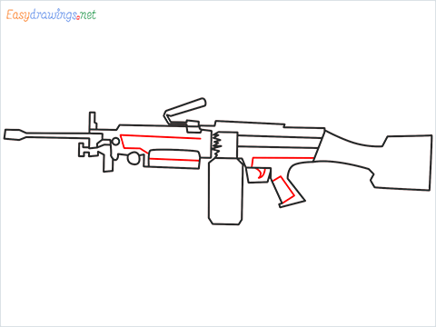 How to draw M249 Gun step (8)