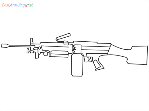 How to draw M249 Gun step by step for beginners
