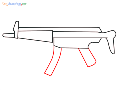 How to draw MP5 Gun step (5)