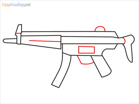 How to draw MP5 Gun step (6)