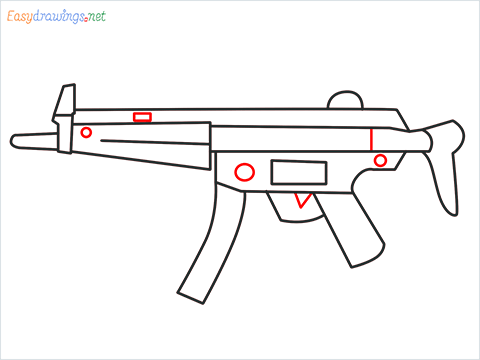 How to draw MP5 Gun step (7)
