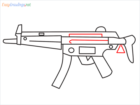 How to draw MP5 Gun step (8)