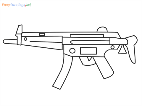 How to draw MP5 Gun step by step for beginners