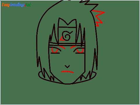 How to draw Sasuke uchiha step (6)
