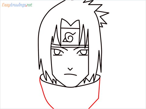 How to draw Sasuke uchiha step (7)