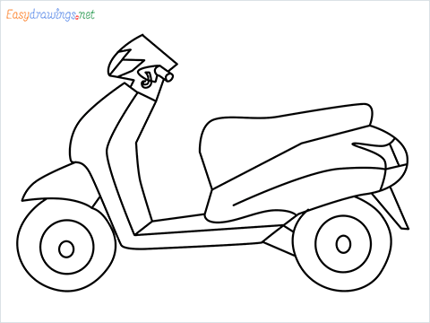 How to draw Scooter step by step for beginners