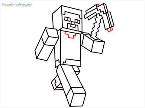 How to draw Steve from minecraft step (12)