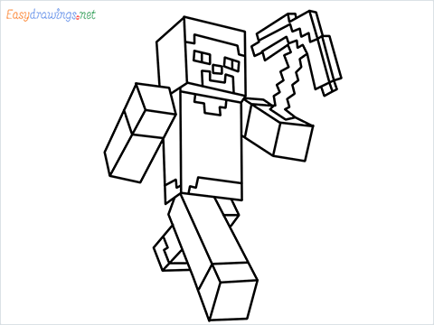 How to draw Steve from minecraft step by step for beginners