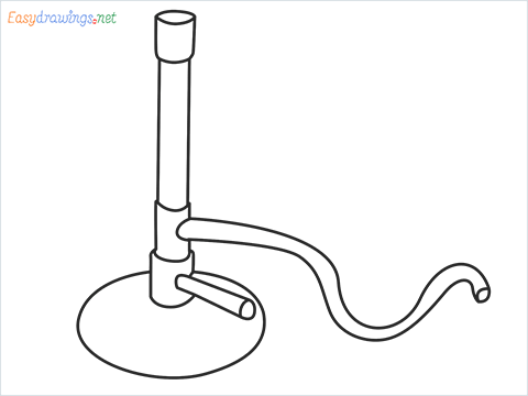 How to draw a Bunsen burner step by step for beginners