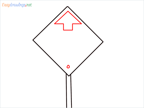 How to draw a Bus stop sign step (3)