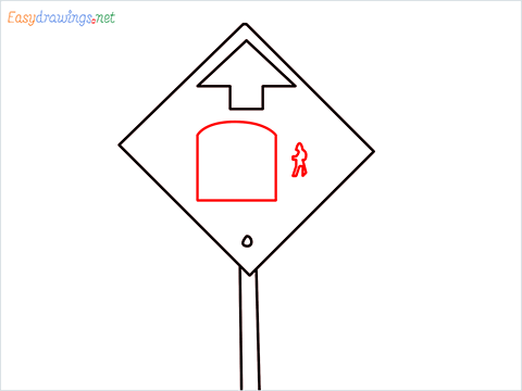 How to draw a Bus stop sign step (4)