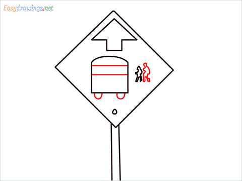 How to draw a Bus stop sign step (5)