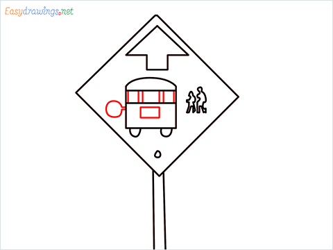 How to draw a Bus stop sign step (6)