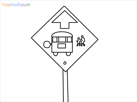 How to draw a Bus stop sign step by step for beginners