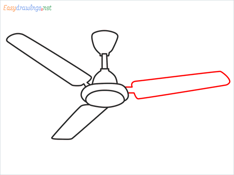 How to draw a Ceiling fan step (8)