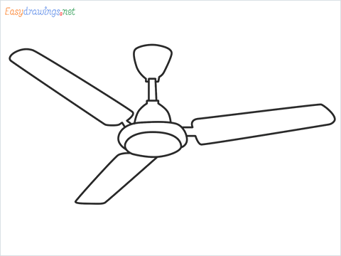 How to draw a Ceiling fan step by step for beginners