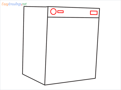 How to draw a Clothes dryer step (4)