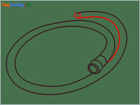 How to draw a Garden hose step (6)