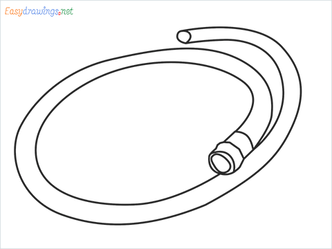 How to draw a Garden hose step by step for beginners
