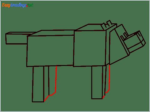 How to draw a Minecraft Dog step (10)