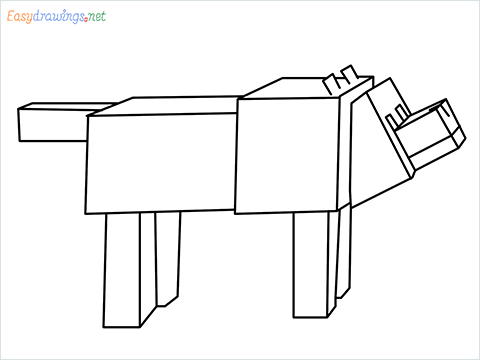 How to draw a Minecraft Dog step by step for beginners