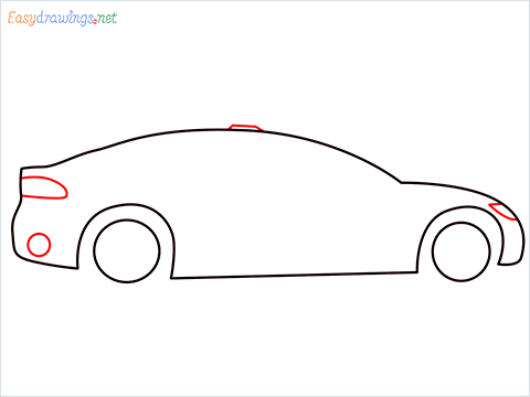 How to draw a Police car step (4)