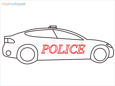 How to draw a Police car step (7)