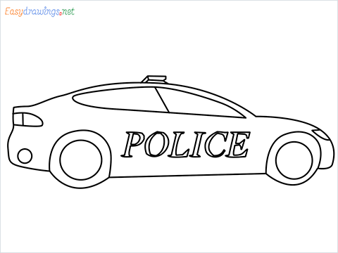 How to draw a Police car step by step for beginners