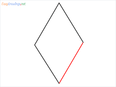 How to draw a Rhombus shape step (4)