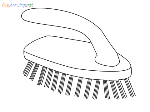 How to draw a Scrub brush step by step for beginners