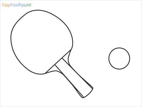 How to draw a Table tennis racket and ball step by step for beginners