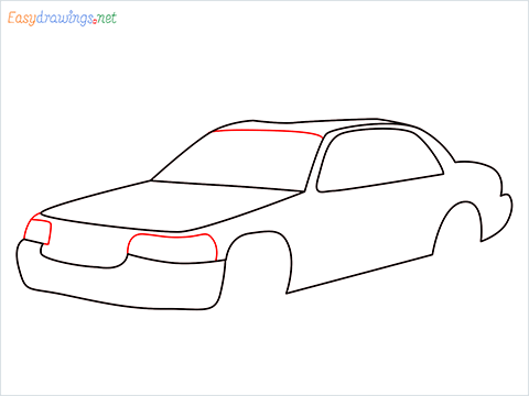 How to draw a Taxi car step (6)