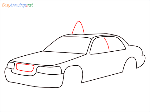 How to draw a Taxi car step (7)