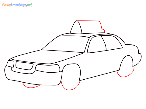 How to draw a Taxi car step (8)