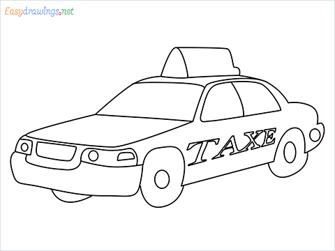 How to draw a Taxi car step by step for beginners
