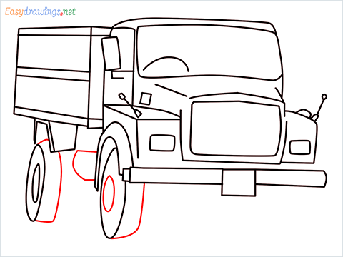 How to draw a Tipper lorry step (11)