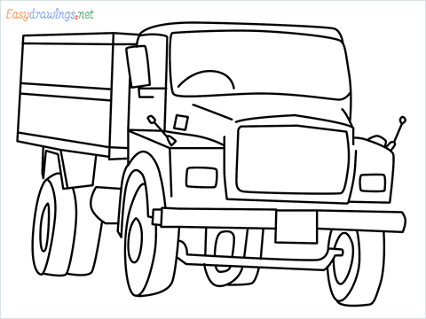 How to draw a Tipper lorry step by step for beginners