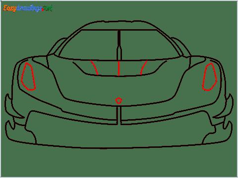 How to draw a sports car Koenigsegg Jesko step (7)