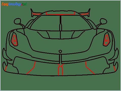 How to draw a sports car Koenigsegg Jesko step (9)