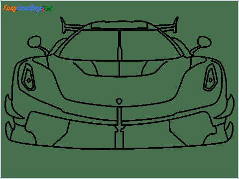 How to draw a sports car Koenigsegg Jesko step by step for beginners
