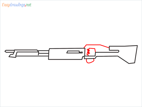 How to draw m60 Gun step (5)